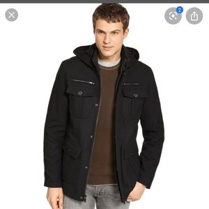 Men's Wool Hooded Peacoat